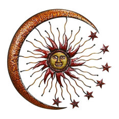 Benzara, Woodland Imprts, The Urban Port - Sparkling Sun Moon Metal Wall Decor With Small Stars, Multicolor - Outdoor Wall Art