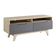 Modern Media TV Stand Console Table Wood Gray Natural