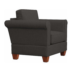 Georgetown Quick Assembly Oak Leg Chair and a Half, Charcoal