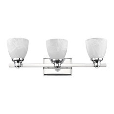 Gewnevere 3-Light Chrome Finish Bath Vanity Wall Fixture White Alabaster Glass