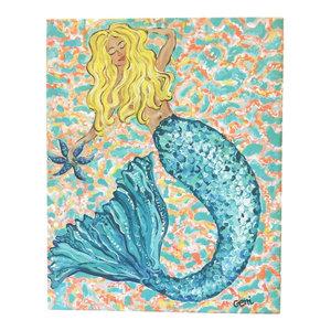 Blonde Mermaid Canvas Art, 16x20