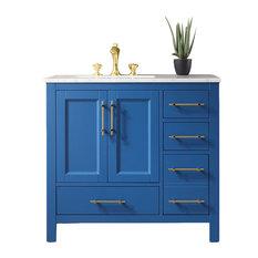 Eviva Navy 36-inch Deep Blue Transitional Bathroom Vanity W/ White Carrara Top