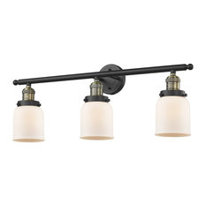 Innovations Small Bell 3-Light Bathroom Fixture, Black Antique Brass