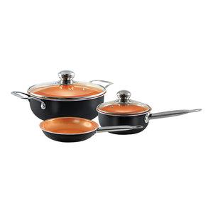 Cookware Set With Frying Pan, Long Handle, Black, 5-Piece Set