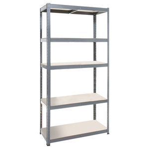 Modern Display Shelving Unit, Steel and MDF With 5 Adjustable Shelves
