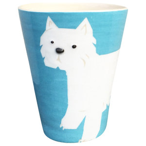 Turquoise Animal Cups, Westie, Set of 2