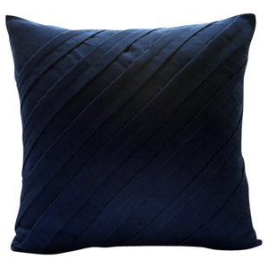 Blue Faux Suede 45x45 Textured Pintucks Cushion Covers, Contemporary Navy