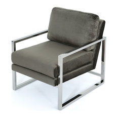 GDFStudio   Electa Modern New Velvet Club Chair With Stainless Steel Frame,  Gray/Chrome