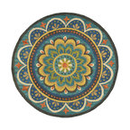 Dazzle Blue Indoor Round Rug, 4