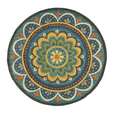 Dazzle Blue Indoor Round Rug, 4'
