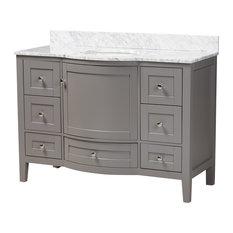 "Kira 48"" Transitional Gray Wood and Marble Single Sink Bathroom Vanity"