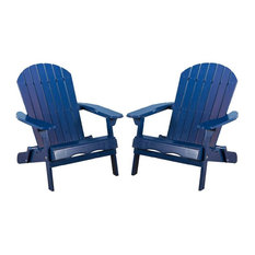 Outdoor Folding Adirondack Chair in Blue - Set of 2
