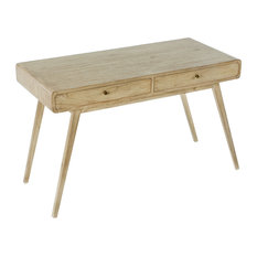 Wooden Desk With Two Drawers, Whitewash