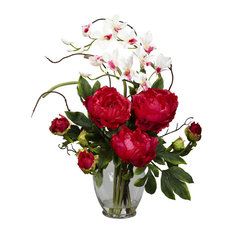 Peony and Orchid Silk Flower Arrangement, Red