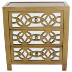 """River of Goods - 28"""" Glam Slam 3-Drawer Chest, Gold - The glamour of the turn of the century and the practical storage you need today.  This antique finish three drawer cabinet has three mirrored drawers and a diamond overlay wood pattern.  With a metallic silver and gold painted finish, this cabinet will add style and sophistication to your living room, bedroom, or entry way."""