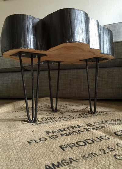 diy fabriquer une table basse rondin mont e sur hairpin legs. Black Bedroom Furniture Sets. Home Design Ideas