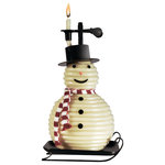 """Eclipse Home D?cor, LLC - 100 Hour Snowman Beeswax Candle Vanilla Scent - With hours of dreamy candlelight in your Candle by the Hour, you can set the amount of time it burns, hour by glowing hour. Simply feed the pliable bees wax coil through the candle clip in increments of 3 inches or less. Three inches of candle will for approximately 1hour. Set your nights alight with the Candle By The Hour. Burning time is 80 hours.   Features and details: Quirky bees wax candle coil is sculptural like. Candle reaches upwards in a spiral from a metal burning plate with metal calipers griping the candle Unique conversation piece for the living room. Burns as long as you tell it to, then extinguishes itself. Candle has a Vanilla scent. Candle size - 5"""" Diam x 10.55""""H. Made in Vietnam."""