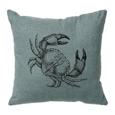 Wooded River Inc - Linen Pillow 16x16 - Crab - Ocean - Decorative Pillows