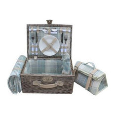 Cream Tartan Fitted Picnic Basket, 2 Person