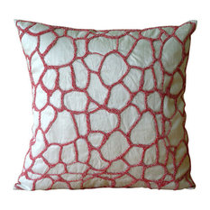 Abstract Ivory Cushion Covers, Art Silk 40x40 Cushion Cover, Abstract Texture