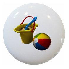 Beach Ball Sand Bucket Ceramic Knob