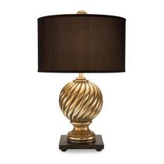 Table Lamp JOHN-RICHARD Spiral Finial 1-Light 20x20 Gold Gilded Brown
