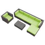 Urban Furnishing - Lanai Outdoor Backyard Wicker Rattan Patio Furniture, 7-Piece Set, Lime Green - - Designer Gray Wicker Pattern