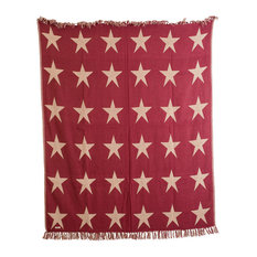 Burgundy Star Throw Woven, 60x50