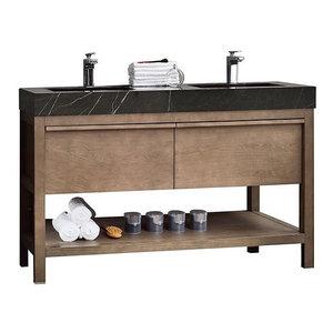 Memphis Single Vanity, Taupe - Contemporary - Bathroom ...