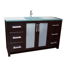Frost Green Glass Modern Contemporary Bathroom Vanity, Espresso, 55""