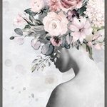 """Marmont Hill Inc. - """"Born to Be Real"""" Floater Framed Painting Print on Canvas, 40x60 - This elegant print features a woman in black and white. You're overlooking her shoulder. On her head is a beautiful bouquet of flowers, going from white, soft pink and dark pink. This will class up any room. This piece is printed on canvas before it's stretched, and then framed and mounted in a non-warping floater frame thereafter. With wall-mounting hooks included, this artful accent is ready to hang up as soon as it reaches your front door."""