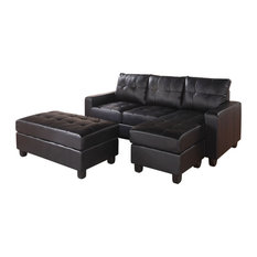 83-inchx57-inchx35-inch Black Bonded Leather Match Sectional Sofa With Ottoman