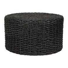 Rush Grass Knotwork Coffee Table/Ottoman, Black