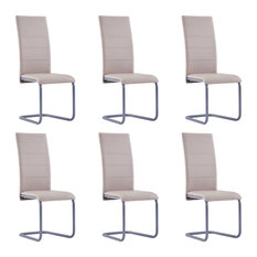VidaXL 6x Cantilever Dining Chairs Cappuccino Faux Leather Kitchen Dinner Seat