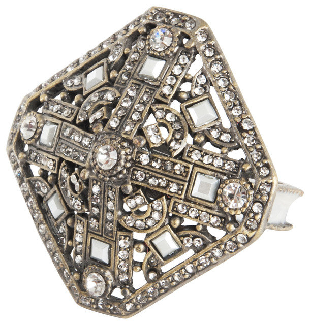 Jeweled Crystal & Gold Decor Napkin Rings Set of 4