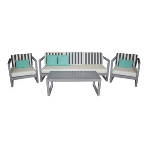 Outdoor 4-Piece Alhama Furniture Set With 3-Seater Sofa, Silver