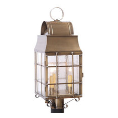 Outdoor Colonial Post Lantern With Handmade Bars, Weathered Brass