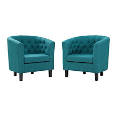 Modway - Prospect 2 Piece Upholstered Fabric Armchair Set, Teal - Armchairs and Accent Chairs