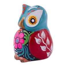 Floral Owl, Turquoise Ceramic Incense Burner