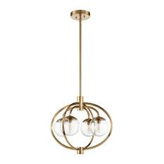 Piltz 4-Light Chandelier, Satin Brass With Clear Glass