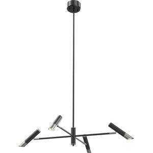 La Becque 4 LED Light Chandelier, Buffed Nickel and Chrome With Graphite