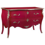 French Heritage - French Heritage Sennely Commode/Chest - Rich pink color and silver ornaments heighten the sense of historic fashion this piece lends any setting. - Two Drawers.- Weight: 100lbs