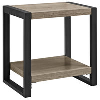 "Delacora WE-BD24UBST 24"" Long Wood and Steel End Table"