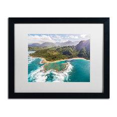 Pierre Leclerc 'Kauai's Tunnels Beach' Matted Art, Black Frame, White, 20x16