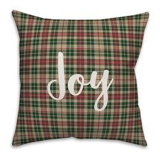 Joy To The World, Tartan Plaid 18x18 Throw Pillow Cover