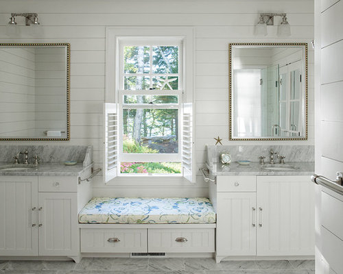 Inspiration for a beach style bathroom remodel in Portland Maine with ...