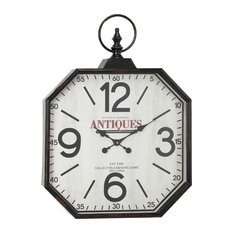 Octagon-Shaped Antique Black Wall Clock With Large Finial Detail