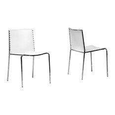 Baxton Studio - Gridley Plastic Modern Dining Chairs, Set of 2, White - Dining Chairs
