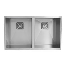 Enki Stainless Steel Kitchen Sink Double Bowl Square Rectangular Undermount