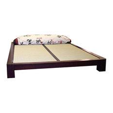 Tatami Platform Bed With Tatami Mats, Dark Walnut, Twin